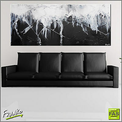 BLACK AND WHITE ABSTRACT ORIGINAL TEXTURE PAINTING CANVAS 200cm x 80cm Franko