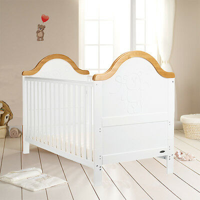 Obaby White & Country Pine B Is For Bear Cot Bed & Fibre Cotbed Safety Mattress
