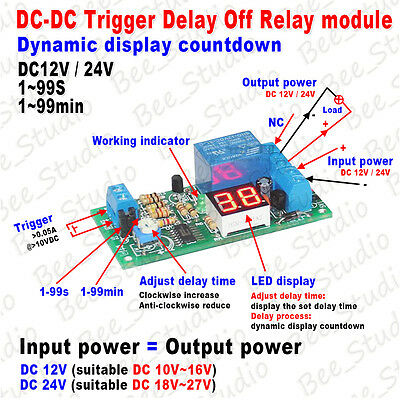 DC 12v 24v digital LED Display Trigger Delay timer Counter Relay Switch Module