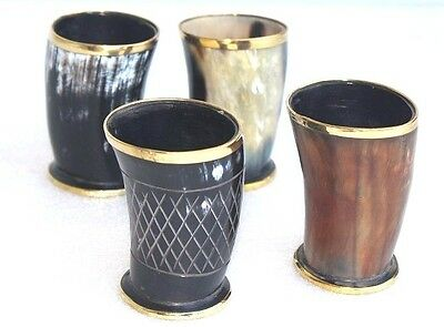 """Four Ceremonial 4"""" drinking horn Mug cups brass designed ale beer wine mead gift"""