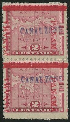"CANAL ZONE #1d ""PANAMA"" READING DOWN & UP VERT PAIR EXT RARE CV $1,500 WLM1397"
