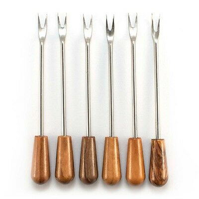 6x Olive,Cocktail,Pickle,Canape,Cherry Fork/ Pick Stainless Steel & Olive Wood