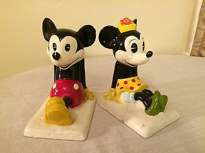 Vintage 1950s Composition Walt Disney Mickey & Minnie Mouse Bookends