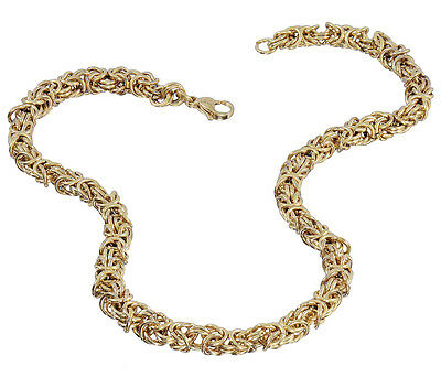 "Stainless Steel Yellow 7MM Byzantine Necklace - 18"" Inch"