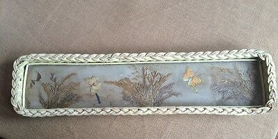 Antique Vintage Wicker Tray With Glass Dried Flowers Butterflies