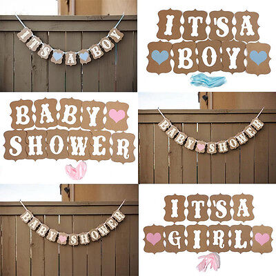 It's A Girl/Boy Kraft Paper Garland Banner Bunting Chic Baby Shower Party Decor