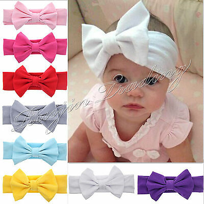 9 Pcs Girls Kids Baby Cotton Bow Hairband Headband Sweet Turban Knot Head Wrap