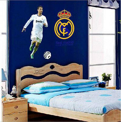 New HD Soccer Star football Wall Stickers Boys Kids Bedroom Mural Poster Decal