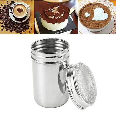 Stainless Steel Chocolate Shaker Duster Flour Icing Sugar Salt Cappuccino Sifter