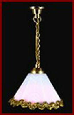 1:12 Scale Working Dolls House Miniature Ceiling Light With A White Shade 5051