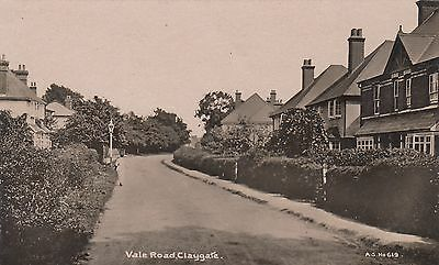 Vale Road, Claygate, Surrey, Real photo, old postcard, unposted