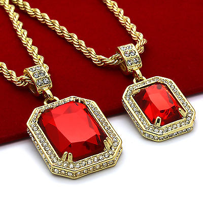 """Men's 14k Gold Plated High Fashion 2 Pieces Ruby Set 4mm 30"""" & 24"""" Rope chains"""