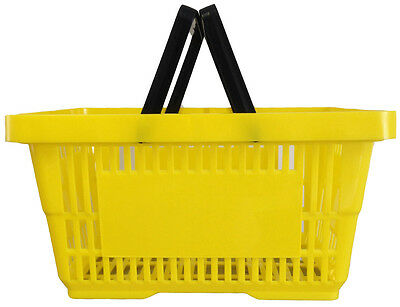 2 Handle Yellow Plastic Shopping Basket Retail Supermarket Use Hand Carry
