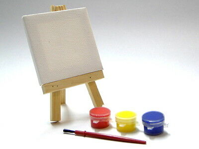 Mini Canvas Set With Easel Paint & Brush Small Display Wooden Art Craft