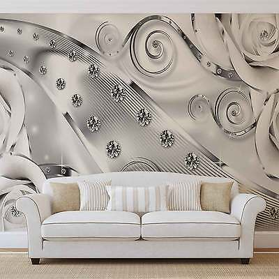 Abstract Modern Floral Silver WALL MURAL PHOTO WALLPAPER (2613DK)