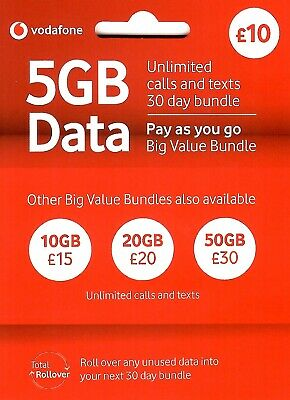 UK Vodafone Official Pay As You Go SIM Card with £30 (3-in-1 SIM for all phones)