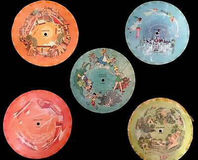 Vintage 1955 Your Trip To Disneyland Toy Paper Plastic 78 Records 5 No Box Map