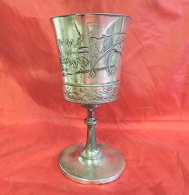 Antique Wilcox 1230 Quadruple Plate Chalice Goblet Cup Very Ornate Bird Floral