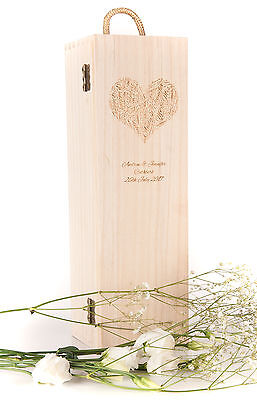 Personalised Engraved Wooden Wine Gift Box Wedding Heart Word Champagne Prosecco