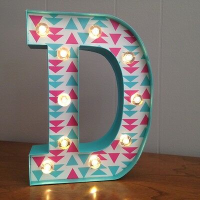 "Letter D Light Up Sign - 10"" Tall - Home Decor - New w/ Tags - LED - Green"