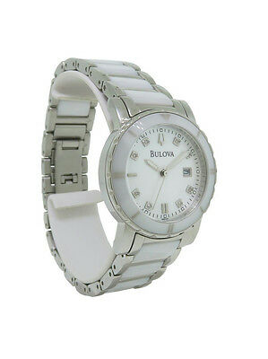 eb5df4c85 Bulova Diamond 98P121 Women's Round Mother of Pearl Ceramic Analog Watch