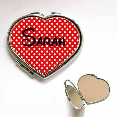 New Heart / Square Personalised Custom Name Polka Dot Compact Handbag Mirror