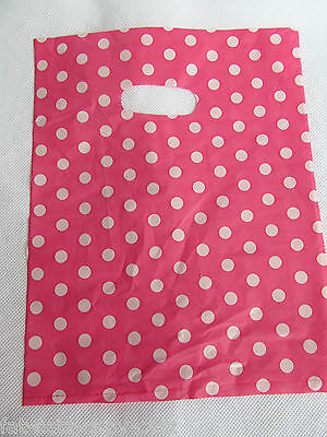 2 Sizes: Spotted Pink Polka Dots Fashion Shop Market Carrier Bags 40+ Per Pack