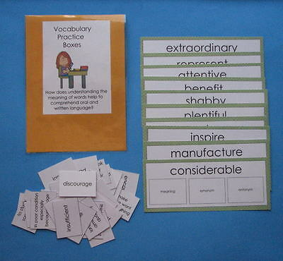 Teacher Made Literacy Center Learning Resource Game Vocabulary Practice Boxes