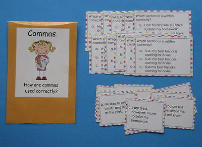 Teacher Made Literacy Center Educational Learning Resource Game Commas