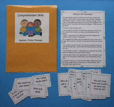 Teacher Made Literacy Center Resource Comprehension Skills Realistic Fiction