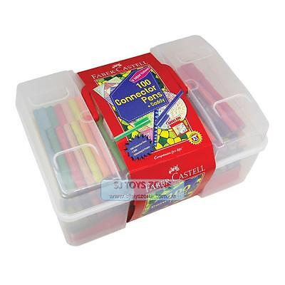 Faber Castell Connector Colouring Pens 100 Assorted Colours in Bucket Art Colour