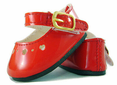Doll Clothes fits Bitty Baby Christmas Red Patent Dress Shoes 2 5/8 by 1 1/2 IN