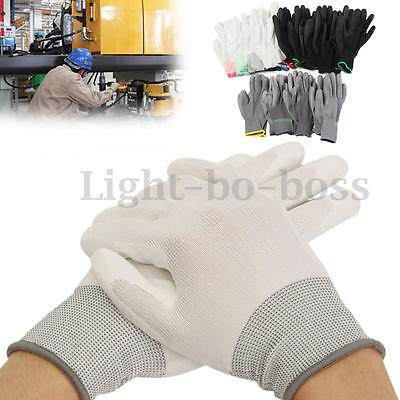 1Pair PU Palm Coated Coating Safety Garden Grip Anti Static Work Gloves Builders