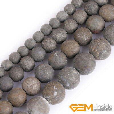 "Natural Grey Pyrite Gemstone Frost Matte Round Beads 15"" 4mm 6mm 8mm 10mm 12mm"
