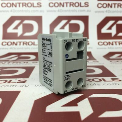 Allen Bradley 100-FA20 Auxiliary Contact Block Front Mounting 2 NO/0 NC - Use...