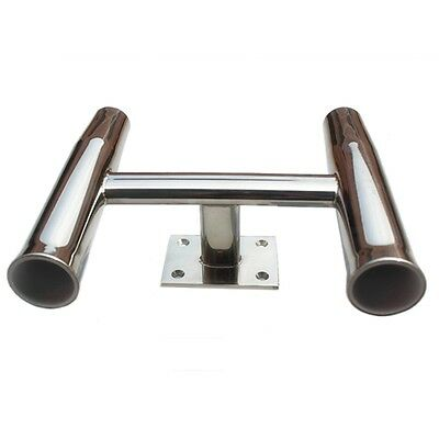 Ship Yacht Fishing Rod Holder Stainless Steel 2 Pipes