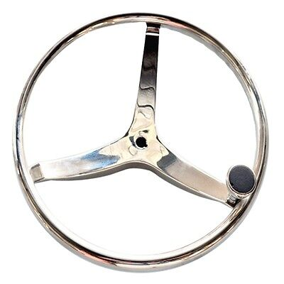 "Stainless Steel Ship Steering Wheel Yacht Marine 15.5"" with hand wheel"