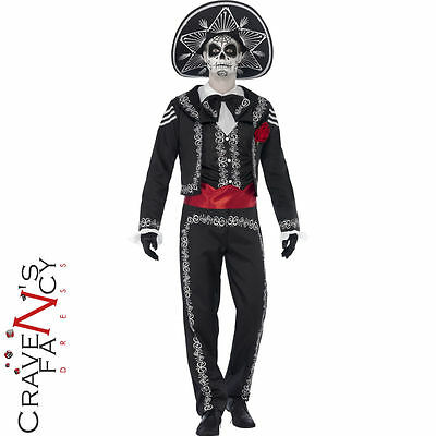 Adult Mens Senor Bones Costume Day of the Dead Fancy Dress Halloween Outfit New