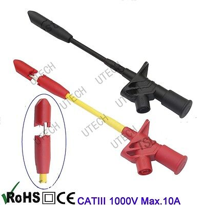 2PCS Fully Insulated Quick Piercing Test Clips Multimeter Test Probe Spring Load
