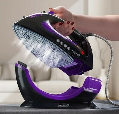 EasySteam Steam Iron Ceramic Soleplate 2200W Cordless Corded 2in1 Non Stick NEW