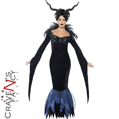 Adult Lady Raven Costume Ladies Maleficent Fancy Dress Halloween Outift New