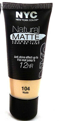 NYC Natural Matte Anti Shine 12HR Foundation 30ml 104 NUDE