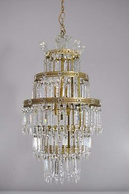 Vintage Five Tier Crystal and Brass Chandelier