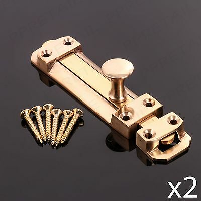 "2 x SOLID BRASS 100mm/4"" SECURITY DOOR BOLT Heavy Duty Sliding Dead Catch Lock"