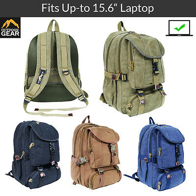 "Outdoor Gear Canvas Backpack 13, 15.6"" Laptop Rucksack Camping Travel Bag Unisex"