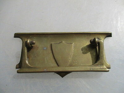 Antique Brass Drawer Handle Pull Architectural Vintage Old 1908 Shield Crest