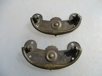 Antique Brass Drawer Handles Pulls Architectural Vintage Old Victorian 1891 Pair