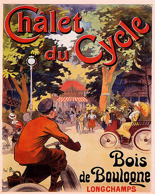 Chalet du Cycle Bicycle Paris France French Advertisement Art Poster Print