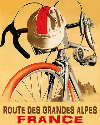 Poster Bicycle Bike Route Des Grandes Alpes France Cycling Vintage Repro Free Sh