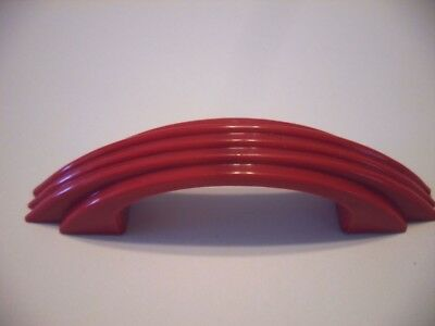 Vintage NOS Drawer Cabinet Pulls Handles RED Early Plastic Ribbed w Stepped Side